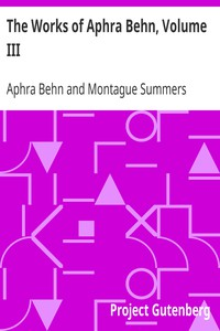 Cover of The Works of Aphra Behn, Volume III