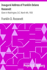 Cover of Inaugural Address of Franklin Delano Roosevelt Given in Washington, D.C. March 4th, 1933