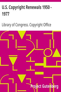 Cover of U.S. Copyright Renewals 1950 - 1977