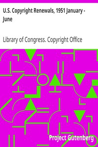 Cover of U.S. Copyright Renewals, 1951 January - June