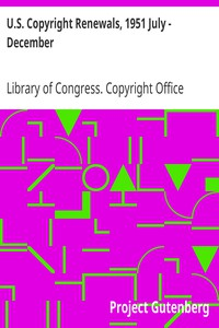 Cover of U.S. Copyright Renewals, 1951 July - December