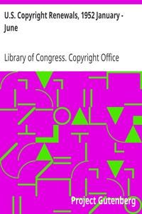 Cover of U.S. Copyright Renewals, 1952 January - June