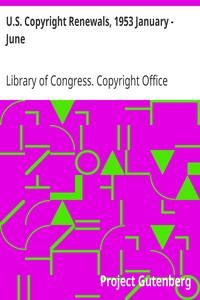Cover of U.S. Copyright Renewals, 1953 January - June