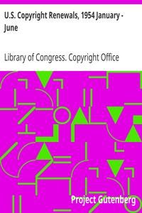 Cover of U.S. Copyright Renewals, 1954 January - June