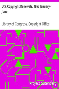 Cover of U.S. Copyright Renewals, 1957 January - June