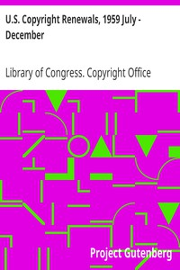 Cover of U.S. Copyright Renewals, 1959 July - December
