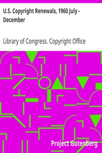 Cover of U.S. Copyright Renewals, 1960 July - December