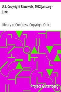Cover of U.S. Copyright Renewals, 1962 January - June