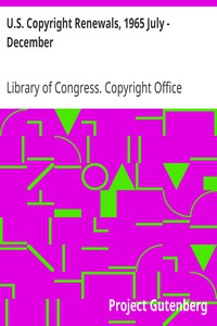Cover of U.S. Copyright Renewals, 1965 July - December
