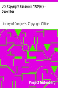 Cover of U.S. Copyright Renewals, 1969 July - December