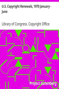 Cover of U.S. Copyright Renewals, 1970 January - June