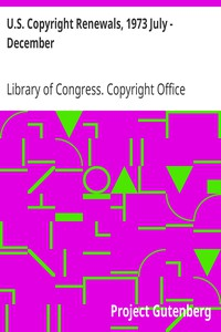 Cover of U.S. Copyright Renewals, 1973 July - December