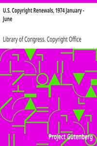 Cover of U.S. Copyright Renewals, 1974 January - June