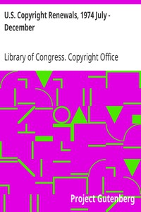 Cover of U.S. Copyright Renewals, 1974 July - December