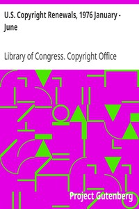 Cover of U.S. Copyright Renewals, 1976 January - June
