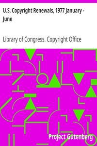 Cover of U.S. Copyright Renewals, 1977 January - June