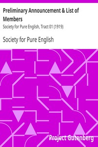Preliminary Announcement & List of Members Society for Pure English, Tract 01 (1919)