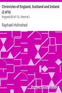 Cover of Chronicles of England, Scotland and Ireland (2 of 6): England (03 of 12) Henrie I.