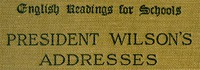 Cover of President Wilson's Addresses