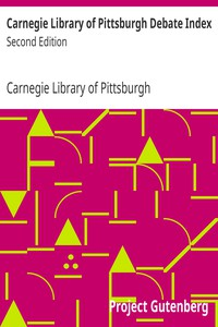 Cover of Carnegie Library of Pittsburgh Debate IndexSecond Edition
