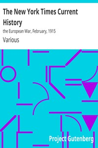 Cover of The New York Times Current History: the European War, February, 1915