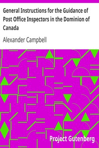 Cover of General Instructions for the Guidance of Post Office Inspectors in the Dominion of Canada