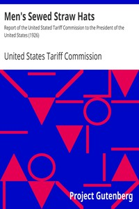 Cover of Men's Sewed Straw Hats Report of the United Stated Tariff Commission to the President of the United States (1926)