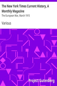 Cover of The New York Times Current History, A Monthly Magazine The European War, March 1915