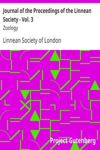 Journal of the Proceedings of the Linnean Society - Vol. 3Zoology