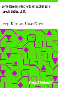 Cover of Some Remains (hitherto unpublished) of Joseph Butler, LL.D.