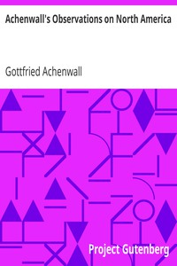 Cover of Achenwall's Observations on North America