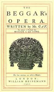 Cover of The Beggar's Opera; to Which is Prefixed the Musick to Each Song