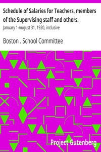 Cover of Schedule of Salaries for Teachers, members of the Supervising staff and others.January 1-August 31, 1920, inclusive