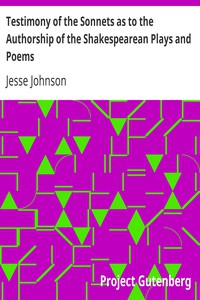 Cover of Testimony of the Sonnets as to the Authorship of the Shakespearean Plays and Poems