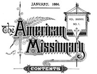 Cover of The American Missionary — Volume 38, No. 01, January, 1884