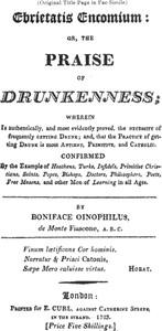 Cover of Ebrietatis Encomiumor, the Praise of Drunkenness