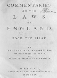 Cover of Commentaries on the Laws of England, Book the First