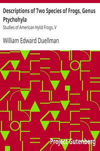 Descriptions of Two Species of Frogs, Genus PtychohylaStudies of American Hylid Frogs, V