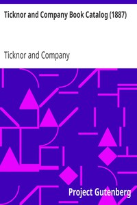 Cover of Ticknor and Company Book Catalog (1887)