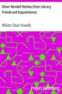 Cover of Oliver Wendell Holmes (from Literary Friends and Acquaintance)