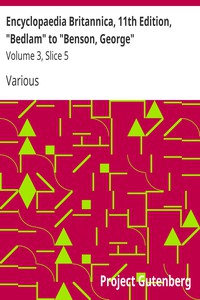 "Cover of Encyclopaedia Britannica, 11th Edition, ""Bedlam"" to ""Benson, George"" Volume 3, Slice 5"