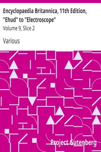 """Cover of Encyclopaedia Britannica, 11th Edition, """"Ehud"""" to """"Electroscope"""" Volume 9, Slice 2"""