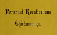 Cover of Personal Recollections of Chickamauga A Paper Read before the Ohio Commandery of the Military Order of the Loyal Legion of the United States