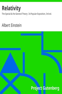 Cover of Relativity: The Special & the General Theory A Popular Exposition, 3rd ed.