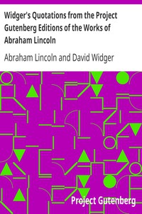 Cover of Widger's Quotations from the Project Gutenberg Editions of the Works of Abraham Lincoln