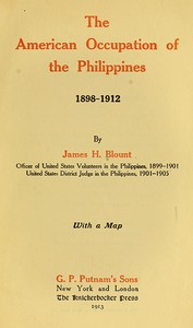 Cover of The American Occupation of the Philippines 1898-1912
