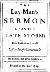 Cover of The Lay-Man's Sermon upon the Late StormHeld forth at an Honest Coffee-House-Conventicle