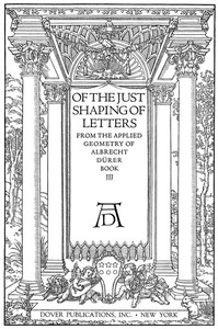 Cover of Of the Just Shaping of Letters