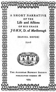 Cover of A Short Narrative of the Life and Actions of His Grace John, D. of Marlborogh