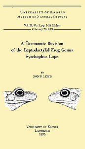 A Taxonomic Revision of the Leptodactylid Frog Genus Syrrhophus Cope